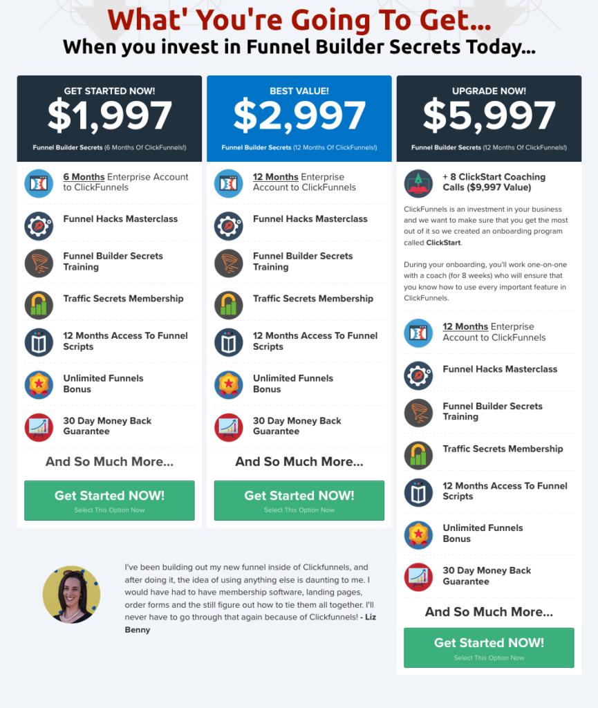 Funnel Builder Secrets Price Comparison