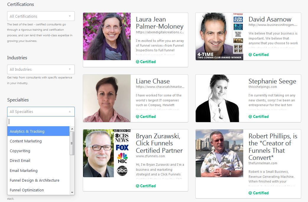 Marketplace for ClickFunnels Certified Consultants