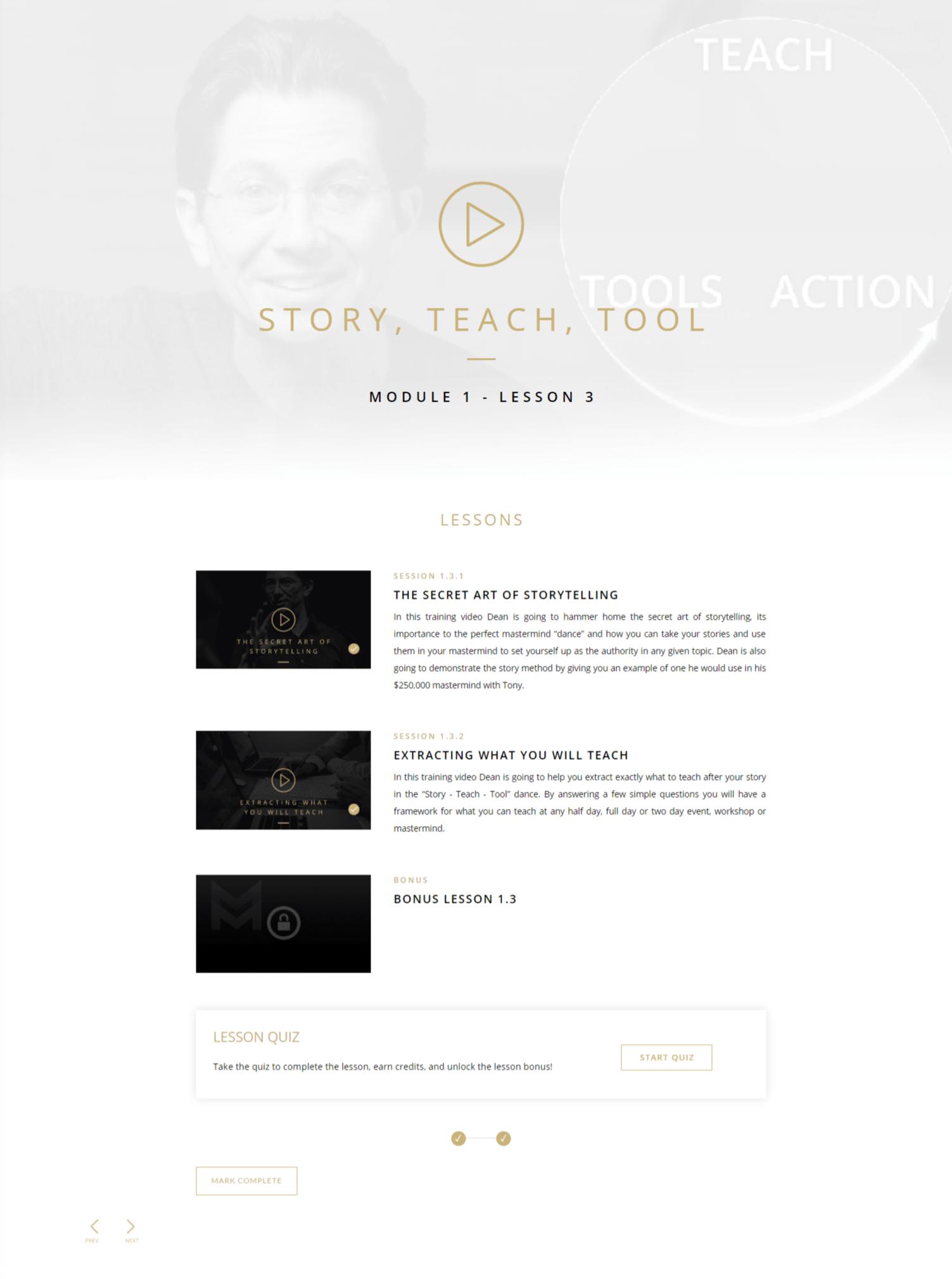 Story Teach Tool - inside the training module