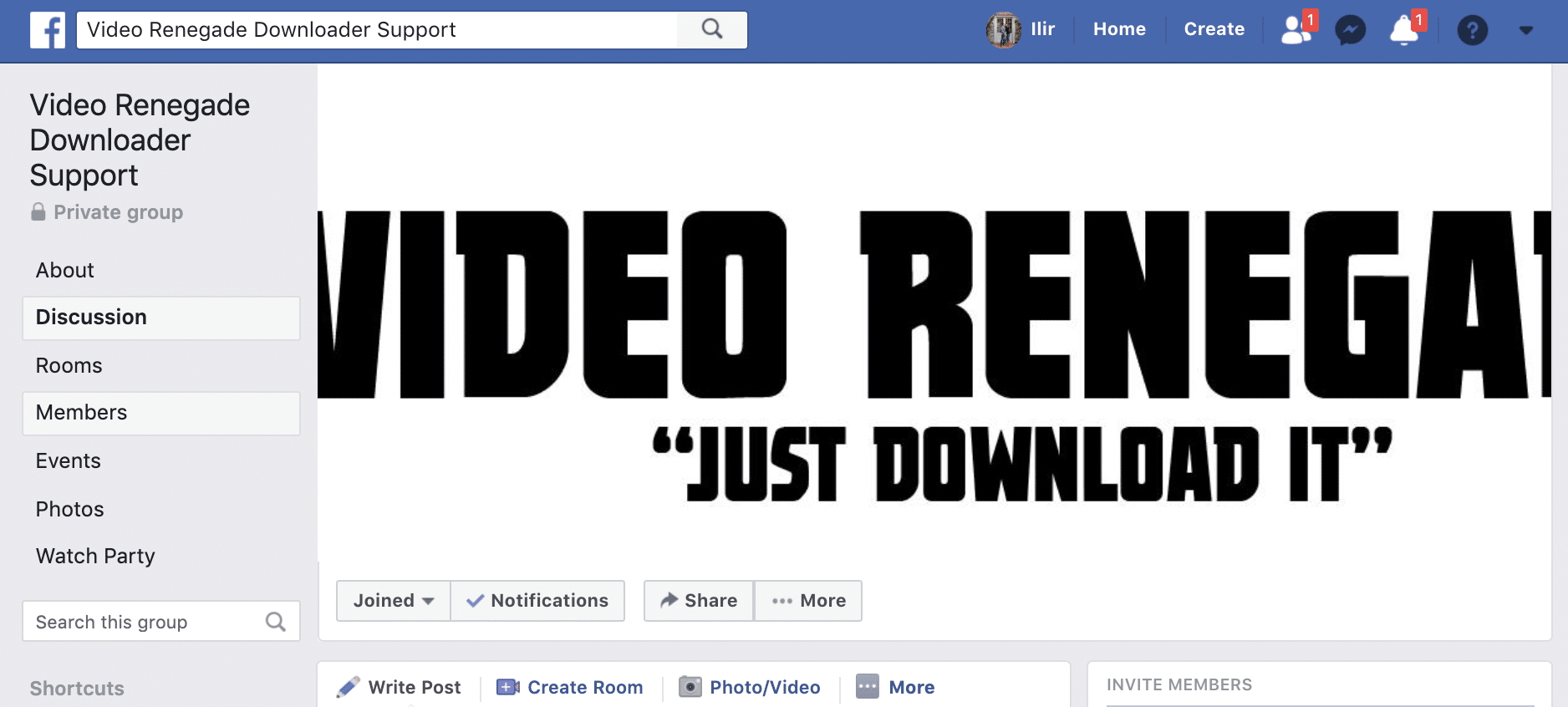 facebook community for Video Renegade Downloader users